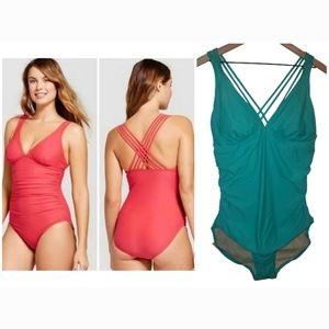 Merona Onepiece Teal Swimsuit Criss Cross Back XL